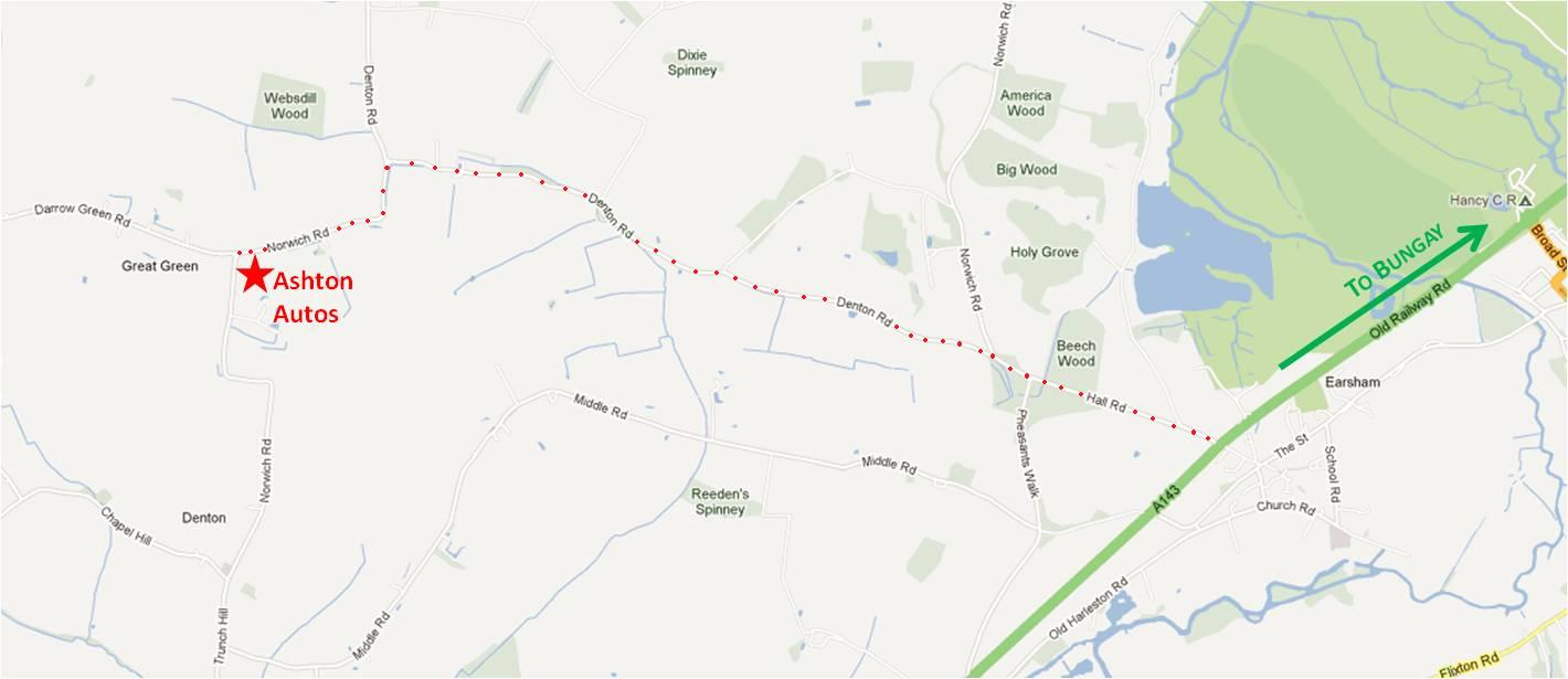 Annotated map showing the route from the A143 (coming from Bungay): CLICK TO ENLARGE